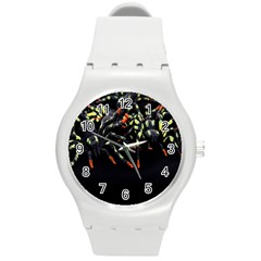 Colorful Spiders For Your Dark Halloween Projects Round Plastic Sport Watch (m) by Simbadda
