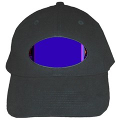 Blue Fractal Square Button Black Cap by Simbadda