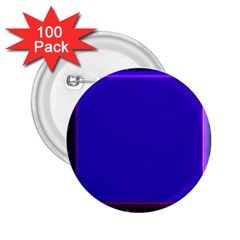 Blue Fractal Square Button 2 25  Buttons (100 Pack)  by Simbadda