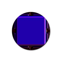 Blue Fractal Square Button Rubber Coaster (round)  by Simbadda