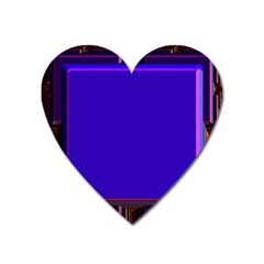 Blue Fractal Square Button Heart Magnet by Simbadda