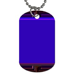 Blue Fractal Square Button Dog Tag (two Sides) by Simbadda