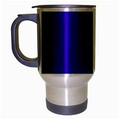 Blue Fractal Square Button Travel Mug (silver Gray) by Simbadda