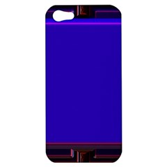 Blue Fractal Square Button Apple Iphone 5 Hardshell Case by Simbadda
