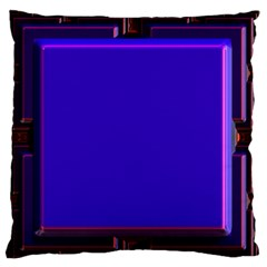 Blue Fractal Square Button Large Flano Cushion Case (two Sides) by Simbadda