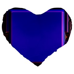 Blue Fractal Square Button Large 19  Premium Flano Heart Shape Cushions by Simbadda