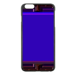Blue Fractal Square Button Apple Iphone 6 Plus/6s Plus Black Enamel Case by Simbadda