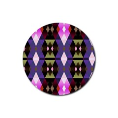 Geometric Abstract Background Art Rubber Round Coaster (4 Pack)  by Simbadda
