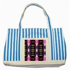 Geometric Abstract Background Art Striped Blue Tote Bag by Simbadda