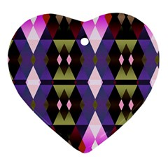 Geometric Abstract Background Art Heart Ornament (two Sides) by Simbadda