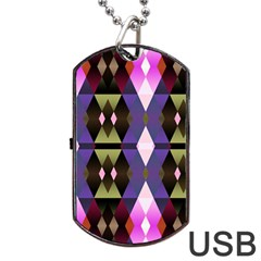 Geometric Abstract Background Art Dog Tag Usb Flash (one Side) by Simbadda