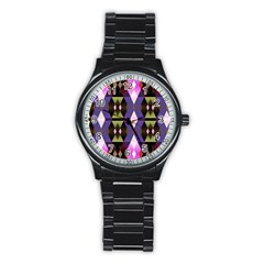 Geometric Abstract Background Art Stainless Steel Round Watch by Simbadda