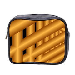 Fractal Background With Gold Pipes Mini Toiletries Bag 2 Side by Simbadda