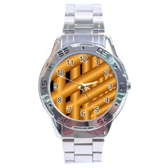 Fractal Background With Gold Pipes Stainless Steel Analogue Watch by Simbadda