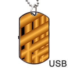 Fractal Background With Gold Pipes Dog Tag USB Flash (One Side) by Simbadda