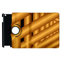 Fractal Background With Gold Pipes Apple Ipad 2 Flip 360 Case by Simbadda