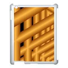 Fractal Background With Gold Pipes Apple Ipad 3/4 Case (white) by Simbadda