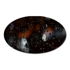 Lights And Drops While On The Road Oval Magnet by Simbadda