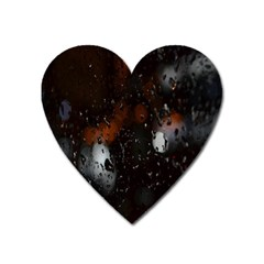Lights And Drops While On The Road Heart Magnet by Simbadda