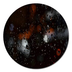 Lights And Drops While On The Road Magnet 5  (round) by Simbadda