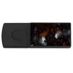 Lights And Drops While On The Road Usb Flash Drive Rectangular (4 Gb) by Simbadda