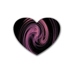 A Pink Purple Swirl Fractal And Flame Style Rubber Coaster (heart)  by Simbadda
