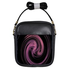 A Pink Purple Swirl Fractal And Flame Style Girls Sling Bags by Simbadda