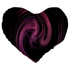 A Pink Purple Swirl Fractal And Flame Style Large 19  Premium Heart Shape Cushions by Simbadda