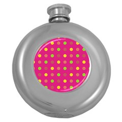 Polka Dots  Round Hip Flask (5 Oz) by Valentinaart