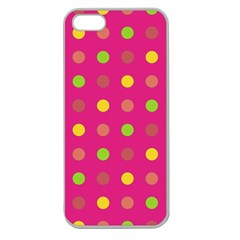 Polka Dots  Apple Seamless Iphone 5 Case (clear) by Valentinaart