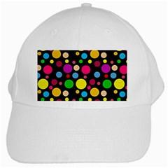 Polka Dots White Cap by Valentinaart