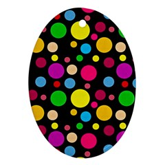 Polka Dots Ornament (oval) by Valentinaart