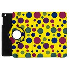 Polka Dots Apple Ipad Mini Flip 360 Case by Valentinaart