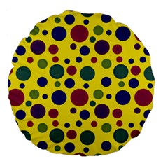 Polka Dots Large 18  Premium Flano Round Cushions by Valentinaart