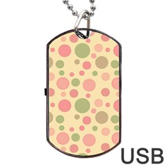 Polka Dots Dog Tag Usb Flash (one Side) by Valentinaart