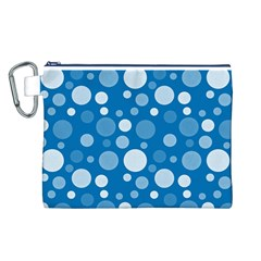 Polka Dots Canvas Cosmetic Bag (l) by Valentinaart