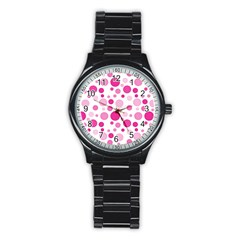 Polka Dots Stainless Steel Round Watch by Valentinaart