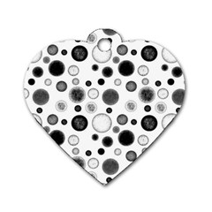Polka Dots Dog Tag Heart (one Side) by Valentinaart