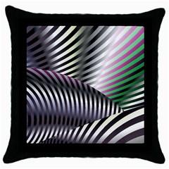 Fractal Zebra Pattern Throw Pillow Case (black) by Simbadda