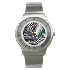 Fractal Zebra Pattern Stainless Steel Watch by Simbadda