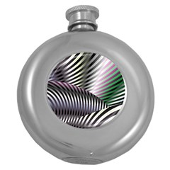 Fractal Zebra Pattern Round Hip Flask (5 Oz)