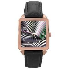 Fractal Zebra Pattern Rose Gold Leather Watch  by Simbadda