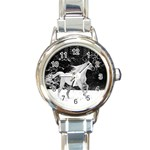 WHITE STALLION SNOW HORSE ROUND ITALIAN CHARM WATCH
