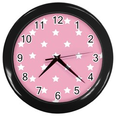 Stars Pattern Wall Clocks (black) by Valentinaart