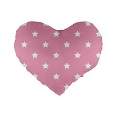 Stars Pattern Standard 16  Premium Flano Heart Shape Cushions by Valentinaart