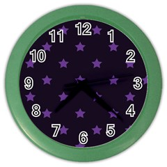 Stars Pattern Color Wall Clocks by Valentinaart