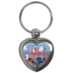 No Parking  Key Chains (heart)  by Valentinaart