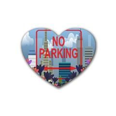 No Parking  Rubber Coaster (heart)  by Valentinaart
