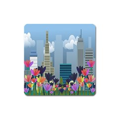 Urban Nature Square Magnet by Valentinaart