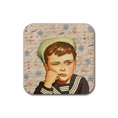 Little Sailor  Rubber Coaster (square)  by Valentinaart